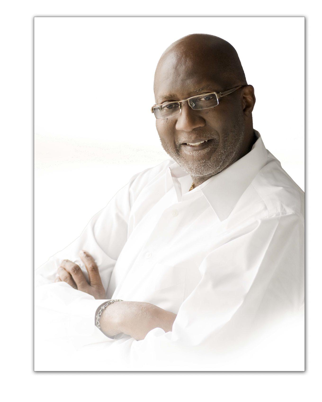 Head shots of man in white shirt